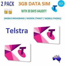 TELSTRA 2 PACK of 3GB DATA SIM CARD 4G BROADBAND STANDARD SIZE 30 Days Validity