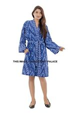 Women Luxury Nightdress Cotton Blue Kimono Sleepwear Lingerie Dressing Gown Robe