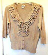 Worthington. Tan with front ruffles 3/4 sleeve knit button up top size S