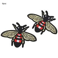 6x Bee Embroidered Iron Applique Patch Badge Bags Dress Craft Sewing Decoration