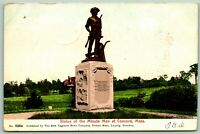 Postcard Concord Massachusetts Statue of the Minute Men Posted 1905