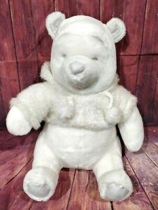 """Disney Store Winnie The Pooh Snowflake Pals 12"""" Plush White Teddy Bear Sparkle"""