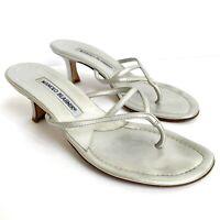 Manolo Blahnik Metallic Silver Kitten Heels Sandals Women's Size 36 US 6
