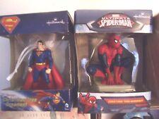 Lot 2 Hallmark  SUPERMAN & Marvel Ultimate Spiderman Christmas Tree Ornament