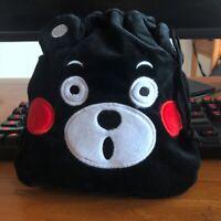Kumamon black bear handbag drawstring storage bag makeup bags phone holder