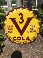 "Original V3 Vess Coca Cola Soda Pop Bottle Cap Metal Sign 29"" 1950's Vintage"