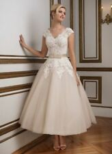 New Lace Tea Length Wedding  dress Formal Bridal Gown Party Dress Size 6-20