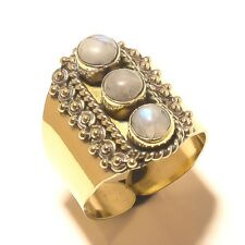 Rainbow Moonstone Tibetan Silver Brass Handmade Gemstone Ring Jewelry