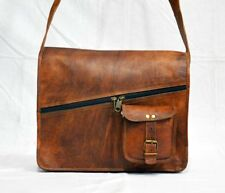 New 15'' Real Leather Vintage Messenger Mens Crossbody satchel Laptop Bag
