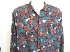 Men's Large Vintage Art Deco Leaves Retro TRIUMPH Button Up LS Shirt Size L