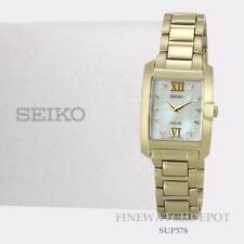 Ladies Seiko Solar Square Gold Stainless MOP Dial 10 Diamonds Watch SUP378