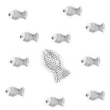 10 Tibetan Silver Fish Charms Goldfish Pendants