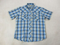 Wrangler Pearl Snap Shirt Adult Large Blue Yellow Plaid Western Rodeo Cowboy Men