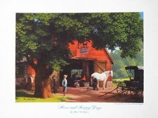 "Paul Detlefsen Art ""Horse and Buggy Days"" Vintage Small Litho Brown & Bigelow A+"