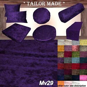 Mv29 Voilet Crush Velvet Sofa Seat Patio Bench Box Cushion Bolster Cover/Runner