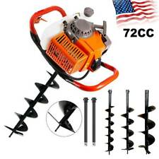 New 4hp 72cc Auger Post Hole Digger Gas Powered Auger Fence Ground 3 Drill Bit
