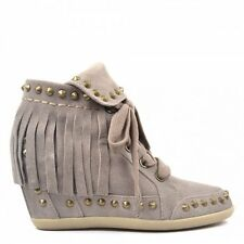 $388 ASH Gray Baba Stone SUEDE FRINGE WEDGE Heel SHOES Boot Anthropologie 38/8M