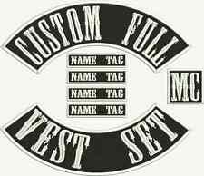 "MC Biker 10"" Custom Embroidered Full Vest Set Patches"