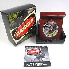 2012 $1 FUNNEL WEB SPIDER DEADLY & DANGEROUS 1OZ SILVER PROOF COIN Australia