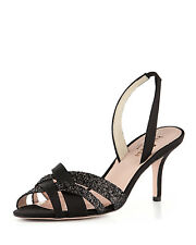 Kate Spade 10m Black Glitter Debbie Strappy Slingback High HEELS 10