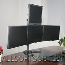 """QUAD PYRAMID LCD LED MONITOR DESK STAND FREESTANDING ADJUSTABLE 4 SCREENS 15-25"""""""