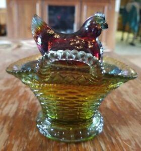 Vintage Westmoreland Hen On Nest Vasoline Glass Basket Dbl Handle Candy Dish