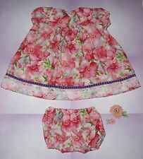 "Handmade Doll Clothes for 23"" - 24"" Baby Dolls - ""Pretty in Pink"" Dress Set"
