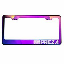 Polish Neo Neon Chrome License Plate Frame IMPREZA Laser Etched Metal Screw Cap