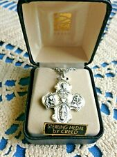 """NEW  CREED """"4-WAY STERLING SILVER"""" Medal   """"1-1/8 H, 24"""" Chain, by CREED #4000T"""