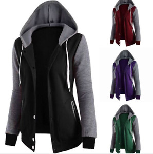 New Women's Long Sleeve Hoodie Casual Hooded Coat Jacket Sweatshirt Baseball