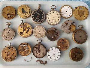 Job Lot #2 Pocket Watch Parts, Waltham, Longines, CYMREX.