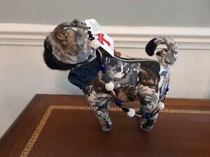 FUZZY NATION Pug Cute Floral Handbag with Beaded Handle - BNWT