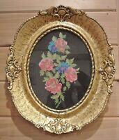 Vintage Big Resin Frame with Needlepoint Roses