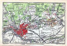 Antique map ,carte, kaart ,mappa Arnhem Netherlands Holland 1910