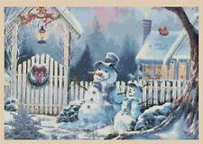 Cross stitch Chart - Winter Snowman Christmas Scene - No.252 TSG37 free uk P&p..