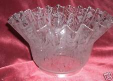 VICTORIAN Etched  GLASS SHADE GASOLIER GLOBE  RUFFLE
