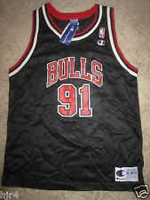 Dennis Rodman #91 Chicago Bulls Champion NBA Black Jersey Youth XL 18-20 NEW