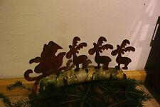 EDELROST Rentier Schlitten klein Weihnachten Rost Gartendeko Edel Metall Eisen