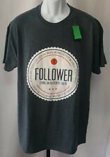 "Gildan ""Follower Living An Authentic Faith"" Gray T-Shirt Unisex Adult Size L New"