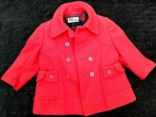 French Boutique Good Quality Infant Girls Smart Double Breasted Red Coat 1 Year