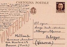 CARTOLINA POSTALE VINCEREMO SPEDITA NEL 1943 A ERBEZZO - VERONA