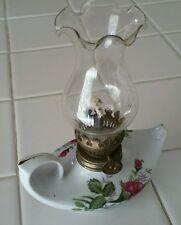 VTG Oil Finger Lamp Porcelain Lantern Pink Rose Chic Twin Genie