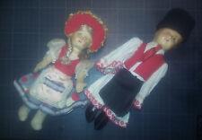 Lot couple poupées 1940 env tête celluloïd Membres rembourrés - Europe de l'est