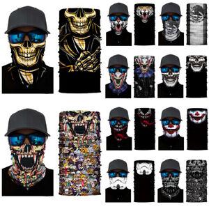 Unisex 3D Skull Face Mask Snood Neck Tube Scarf Balaclava Cycling Biker Bandana/