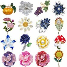 Cute Crystal Pearl Brooch Pin Lapel Flower Charm Sunflower Rose Women Gift Party
