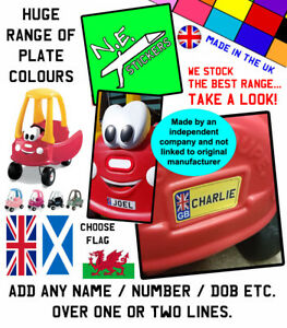 Front & Back Personalised number plates TO FIT Little Tikes Cozy Coupe toy car