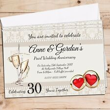 10 Personalised 30th Pearl Wedding Anniversary Invitations Invites N17