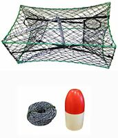 "KUFA Galvanized Foldable Crab Trap & Non-Lead Sinking Line, 5""X11"" Float Combo"