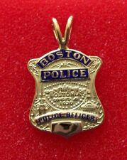 Boston Police Officer Mini Badge in 14K Yellow Gold -  3.7 Grams