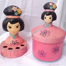 Vtg Vanity Girls Pink Lipstick Holder Toilet Paper Hider Asian Vintage 1960s 60s